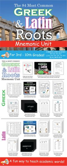 This is a COMPLETE mnemonic unit on eighty-four Greek and Latin roots that are in thousands of English words. By the time your students are finished with this unit, they will have memorized the meanings of these eighty-four common Greek and Latin roots. As a result, they will be able to figure out the meaning of thousands of English words. I made it about five years ago for 8th graders. Been using it ever since for a variety of grade levels.