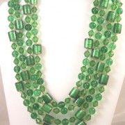 http://www.bitzofglitz.co  Emeral green bead 4 strand necklace  125.00