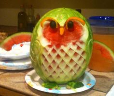 watermelon owl and bonus salad bowl carved out of the back.