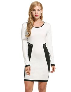 Red O-Neck Long Sleeve Patchwork Casual Dress