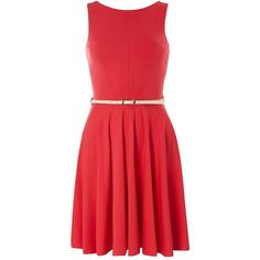 **Closet Coral V Back Flared Dress ($119) ❤ liked on Polyvore featuring dresses, coral, coral dress, flared skirt, belted dress, red circle skirt and coral skater skirt