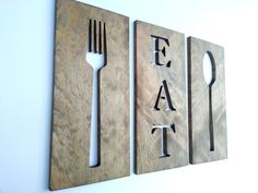 24'' Kitchen Art Fork Spoon And Eat  Wooden Plaques Home Decor Carved Modern Wall Art by TimberArtSigns on Etsy https://www.etsy.com/listing/208335996/24-kitchen-art-fork-spoon-and-eat-wooden