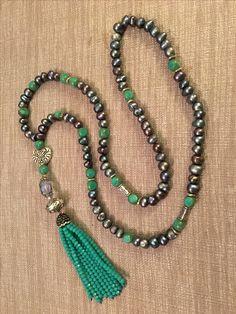 Fresh water pearls, Czech glass beads, Swarovski crystal tassel necklace