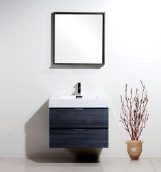Bliss Kubebath Grey Oak Wall Mount Modern Bathroom Vanity The Vanity Store Canada Single Sink Bathroom Vanity, Vanity Sink, Bathroom Vanities, Bathroom Ideas, Single Vanities, Bathroom Black, Boho Bathroom, Small Bathroom, Composite Sinks