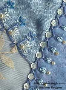 hand embroidered sample of oyster chain stitch