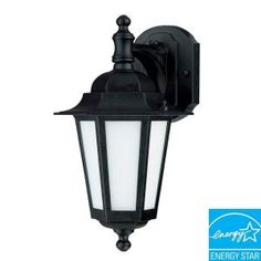 Green Matters, 1-Light Outdoor Textured Black CFL Wall Lantern with Satin White Glass, HD-2206 at The Home Depot - Mobile