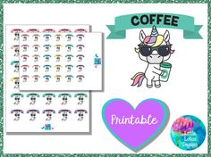 Uli Unicorn - Coffee printable planner stickers, coffee, latte, erin condren, happy planner, kawaii, unicorn, unicorns