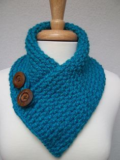 Scarf Knitted Turquoise Cowl Neck Warmer Buttoned Ski Scarflette. $36.00, via Etsy.