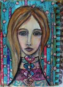 Face: Prismacolored pencils   Background: Watercolors, acrylics, and nupastels            Face: Watercolors and Prisma colored pe...