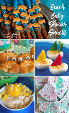 The upcoming baby is going to have a blast splashing in the water and making castles in the sand. Why not celebrate this picture-worthy summer with a beach baby shower? Baby Shower Snacks, Baby Shower Fun, Baby Shower Favors, Baby Shower Decorations, Beach Baby Showers, Edible Favors, Tropical Fruits, Having A Blast, Stork