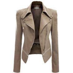 Khaki Long Sleeve Zipper Closure Jacket ($40) ❤ liked on Polyvore featuring outerwear, jackets, khaki, faux leather jacket, zipper jacket, genuine leather jackets, print jacket and collar jacket