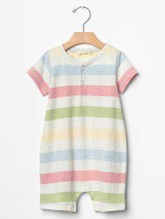 Organic rainbow stripe romper Product Image
