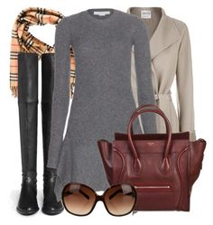"""Pining for Fall v.5"" by alymalo ❤ liked on Polyvore featuring Burberry, Stuart Weitzman, Armani Collezioni, STELLA McCARTNEY, CÉLINE, Tory Burch, Boots, autumn, coat and fall2015"