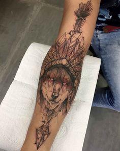 arm tattoo wolf native american