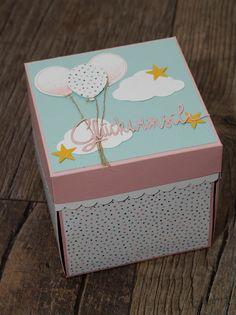 Explosionsbox zur Geburt Diy Gift Box, Diy Box, Diy Gifts, Birthday Surprise For Husband, Happy Birthday Cards Handmade, Scrapbook Cover, Exploding Box Card, Baby Clip Art, Shaped Cards