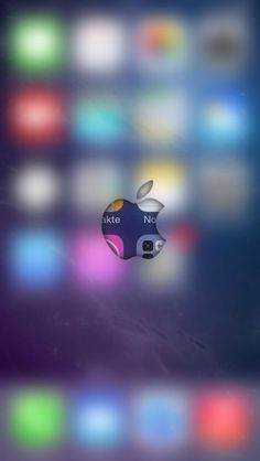 Apple logo over blurred app icons in background. Colours.