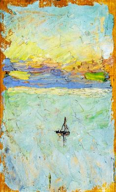 By Wassily Kandinsky: 'Sailboat at Sea' Forget the sailboat for a moment, an abstract painting remains. Which famous painter does it remind you off? Art And Illustration, Illustrations, Ernst Ludwig Kirchner, Kandinsky Art, Wassily Kandinsky Paintings, Catalogue Raisonne, Oil Painting Reproductions, Art Moderne, Art Abstrait