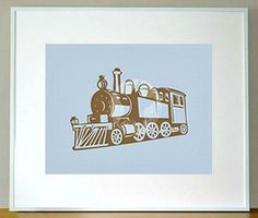 Children's Train 5 x 7 Art Print/Wall Art - Baby Nursery Decor and Children's Room Decor. $13.00, via Etsy.