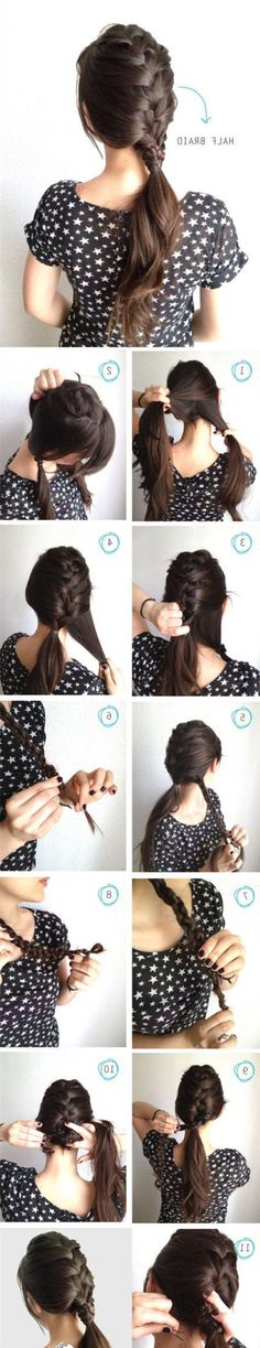How to make half braid for your hair. this is to make your hair thicker in the ponytail! Braided Hairstyles Tutorials, Pretty Hairstyles, Easy Hairstyles, Simple Hairdos, Office Hairstyles, Braid Tutorials, Hairstyle Ideas, Hair Simple, Summer Hairstyles