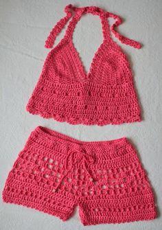 Items similar to Teal Hand Crochet Shorts Hot Pants - Beachwear Resort Bikini Bathing Suit Cover Up - Handmade In Chile on Etsy : Strawberry Pink Hand Crochet 2 Piece Set: by CokettaBeachwear Beau Crochet, Gilet Crochet, Crochet Pants, Mode Crochet, Crochet Clothes, Hand Crochet, Knit Crochet, Crochet Pattern, Crochet Halter Tops