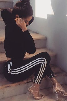 + Adidas Pants Outfit Ideas: Super Combo of Comfort and Beauty ★ See more: http://glaminati.com/adidas-pants-outfit-ideas/
