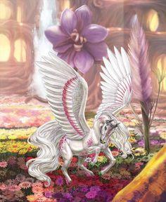 Foxglove, King of Sunflower Mythological Creatures, Fantasy Creatures, Mythical Creatures, Unicorn Art, Magical Unicorn, Pegasus, Fantasy World, Fantasy Art, Winged Horse
