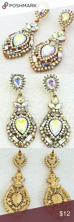 """Clear Rhinestone Statement Earrings Earrings measures approx 2?"""" long x 1"""" wide  Rhinestones are clear but they do pick up the light and colors around them as you can see in the photos. Jewelry Earrings"""