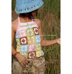 Crochet Pattern: Granny Square Haltered-Neck Top