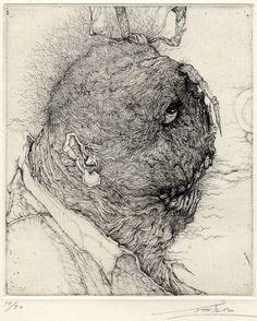 姥−R Old woman-R 2004 etching, Toshihiko Ikeda