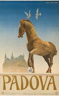 Padova Padua - Italy original poster designed by Barbi-Benvignati Retro Poster, Poster S, Poster Vintage, Poster Prints, Vintage Italian Posters, Pub Vintage, Vintage Travel Posters, Saint Anthony Of Padua, Graphisches Design