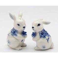 Affordable Places Bunny Couple Print Flowers Salt & Pepper Set By Cosmos Gifts Salt And Pepper Grinders, Salt And Pepper Set, Salt Pepper Shakers, Blue Bunny, White Bunnies, Hand Painted Ceramics, Flower Prints, Easter Bunny, Blue Flowers
