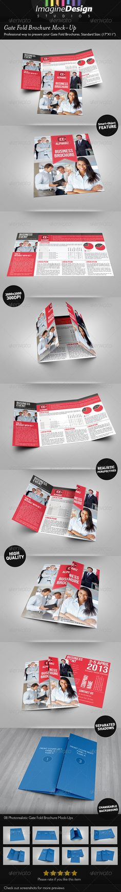 Trifold BrochureA4 Mock-up Products, Graphics and Brochures - gate fold brochure mockup