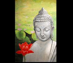 Modern art buddha abstract painting 100% Hand made Lotus pond of Buddha High Q. Oil Painting on canvas 16x24inch(40x60cm)(China (Mainland))