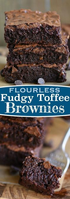 The BEST brownies I've ever had and they just happen to be naturally gluten free! Made without any flour, these Fudgy Toffee Flourless Brownies are naturally gluten free and are going to blow you away! So rich, so fudgy, and absolutely BURSTING with rich, chocolate flavor! A secret ingredient is the key! // Mom On Timeout