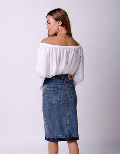 kAY Midwash Denim Pencil Skirt with stretch Black /& Midwash /& Indigo