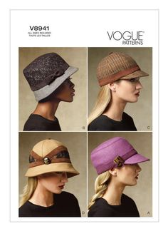 Vogue 8941, Hats Sewing Pattern, New Uncut, Four Hat Pattern, New Uncut #VoguePatterns