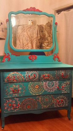 This dresser is made of solid wood. Found in an old Victorian home, hidden in the Blue Ridge Mountains. Shes turquoise in color, distressed a little and complimented with beautiful hippie/boho inspired accents. Funky Painted Furniture, Bohemian Furniture, Refurbished Furniture, Upcycled Furniture, Shabby Chic Furniture, Furniture Makeover, Diy Furniture, Painted Dressers, Painting Furniture