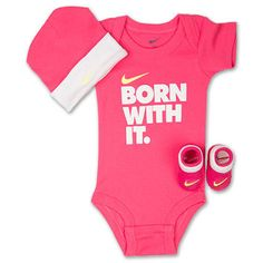 Nike Baby Girl Clothes Classy Nike Baby Girls' 3Piece Bubblegum Heart Bodysuit Hat & Booties Set Review