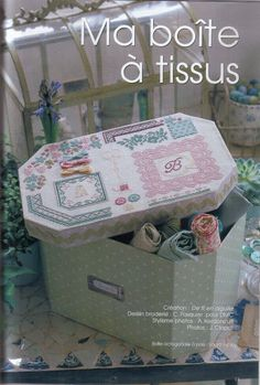 Idea for a pretty covered box to hold material Cross Stitch Alphabet, Cross Stitch Embroidery, Cross Stitch Patterns, Stitch Box, Magazine Cross, Coin Couture, Cross Stitch Magazines, Cardboard Packaging, Cross Stitch Supplies