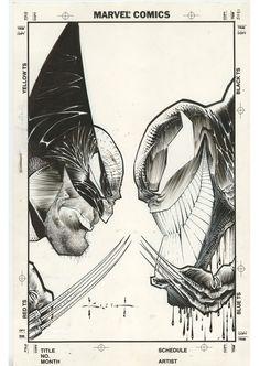 Wolverine vs Venom Inside Comics 1992 Cover art by Sam Kieth Comic Book Artists, Comic Book Characters, Comic Book Heroes, Comic Artist, Comic Books Art, Wolverine Comics, Marvel Comic Character, Character Art, Black And White