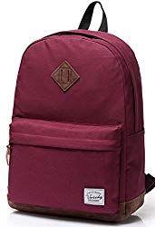 Vaschy Unisex Classic Lightweight Water-resistant Campus School Rucksack Travel BackPack Burgundy Fits Laptop Backpacks for Teen Girl Best Laptop Backpack, Backpack For Teens, Rucksack Backpack, Black Backpack, Travel Backpack, Back To School Backpacks, Kids Backpacks, Canvas Backpacks, Backpacks