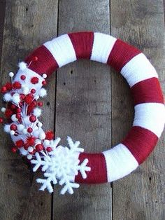Christmas candy cane snowflake wreath
