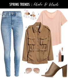 utility jacket, pink tee, how to create casual outfit for spring