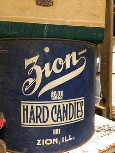 Vintage Zion, Illinois Hard Candies Tin