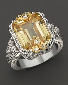 "Judith Ripka ""Estate"" Emerald Cut Ring With Canary Crystal And White Sapphires 