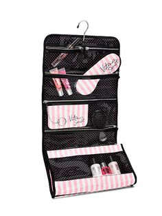 Victoria's Secret Iconic Stripe Folding Hanging Cosmetic Bag
