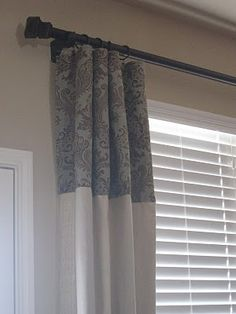 curtains: description of how to make these using canvas drop cloths + patterned fabric panels