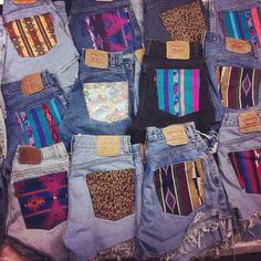 DIY shorts Thrift Store jeans, cut into shorts. Fit the pockets with fabric from a shirt you don't wear anymore, or from a fabric store scrap bin! Fashion Mode, Cute Fashion, Denim Fashion, Fashion Ideas, Tribal Fashion, Bohemian Fashion, Fashion Outfits, How To Have Style, My Style