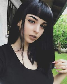 girl, beauty, and black imageの画像 Goth Makeup, Hair Makeup, Goth Hair, Dark Hair, Hair Inspo, Pretty People, Makeup Inspiration, Hair Goals, My Hair