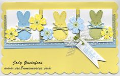 handmade Easter card from Cre8n' Memories: It's A Spring Color Challenge ... pastel blue, yellow and green .. cute cut out bunnies and flowers ... like it!